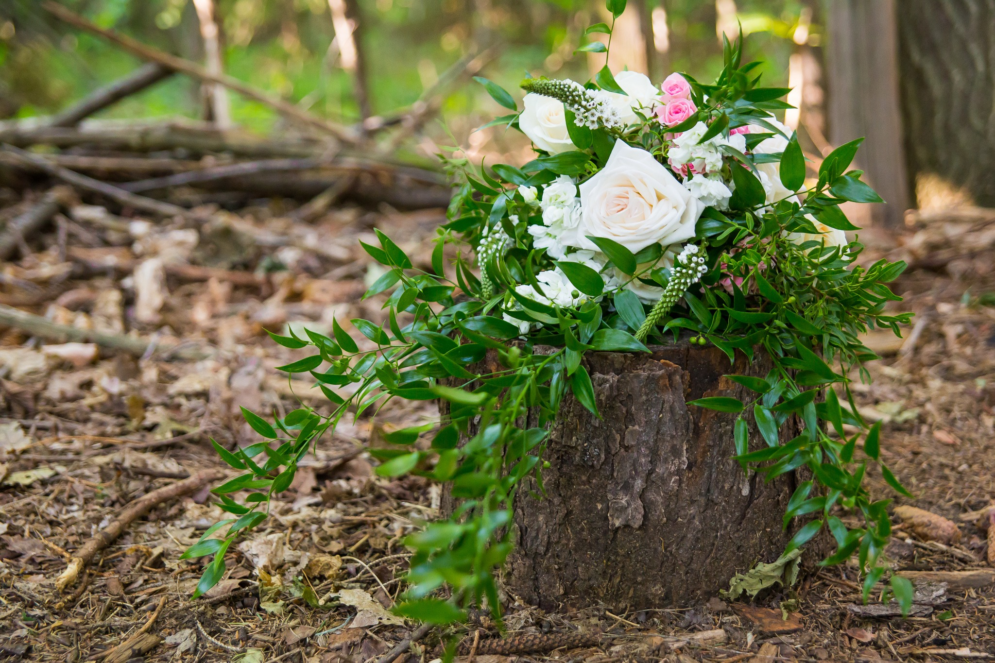 bridal bouquet on a tree stump in the forest