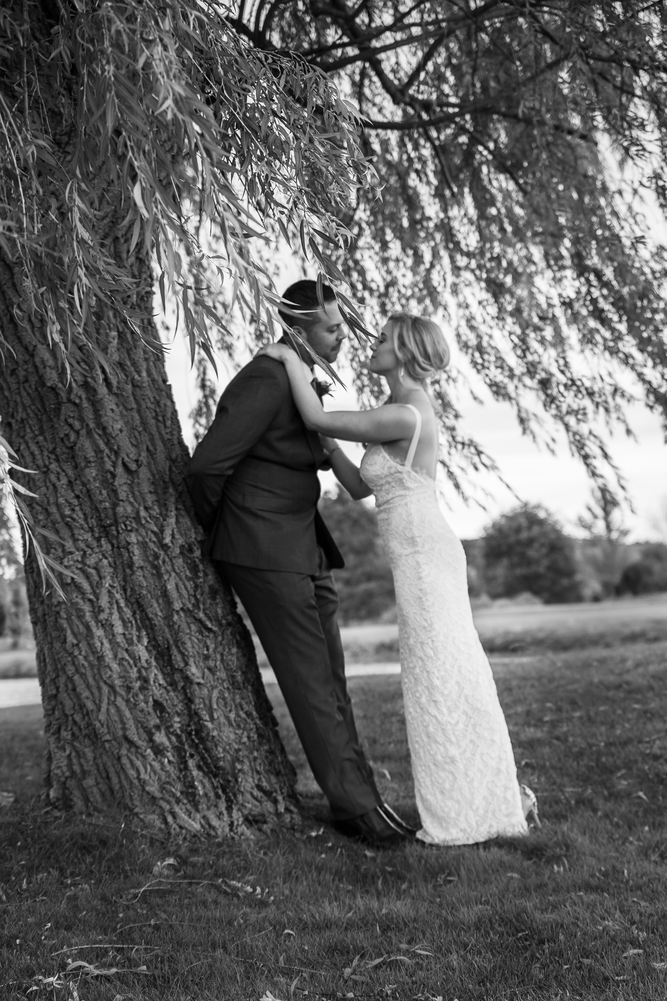 stealing a kiss under the tree