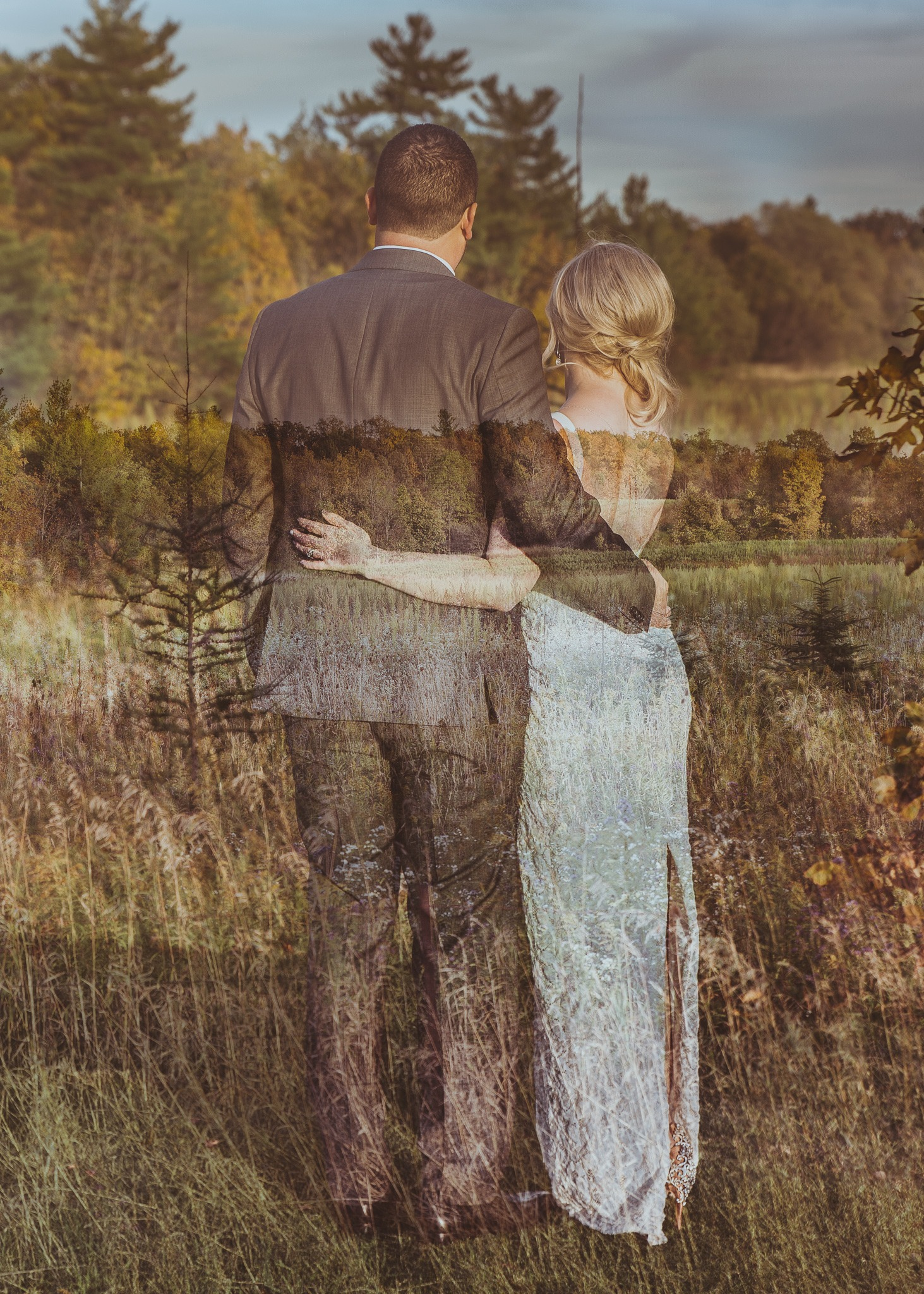 double exposure of the bride and groom hugging